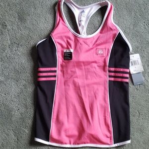 NWT Adidas black/pink/white fitted tank top